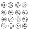 sale black outline circle icons set for discount vector image vector image