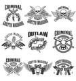 set of outlaw criminal street warrior emblems vector image vector image