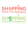 Shopping word with flower symbol vector image vector image