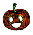 single sketch pumpkin paint hand drawn vector image vector image