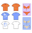 swimsuits t-shirt flat set vector image