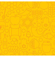 Thin Rosh Hashanah Line Holiday Seamless Yellow vector image vector image