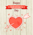 Vintage Valentine card with red heart vector image vector image