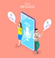 voice message isometric flat conceptual vector image