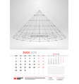 wall calendar template for july 2019 with vector image vector image