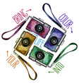 watercolor set of multicolor vintage reflex vector image vector image