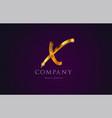 x gold golden alphabet letter logo icon design