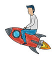 young man flying with rocket vector image