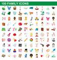 100 family icons set cartoon style vector image