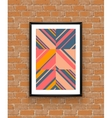 Abstract geometric poster frame on brick wall vector image