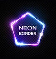 abstract neon pentagon transparent electric sign vector image