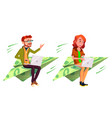 ambition character fly on money bill plane vector image vector image