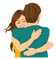 attractive young hispanic woman hugging her man vector image vector image