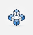 blue blockchain technology icon vector image vector image