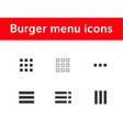burger menu icons set vector image vector image