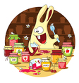 Cartoon bunny eats jam vector image