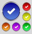Check mark tik icon sign Round symbol on bright vector image vector image