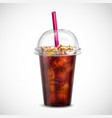 cola with ice takeaway realistic vector image