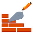 colorful cartoon trowel on brick wall vector image