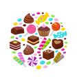 colourful fruit candies and chocolate sweets flat vector image vector image