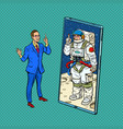 cosmonaut speaker lecturer on a conference call vector image vector image