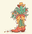 cowboy boot with christmas elements isolated on vector image vector image