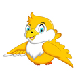 Cute Yellow bird cartoon waving vector image