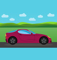 dark pink sports car in the background vector image