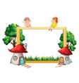 fairy girl on wooden frame vector image