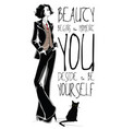 fashion quote with fashion woman in sketch style vector image vector image