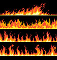fire flame seamless pattern set bright cartoon vector image vector image