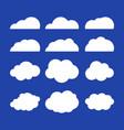 flat clouds set blue sky background vector image