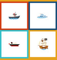 flat icon boat set of cargo boat transport and vector image