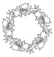 floral circle wreath border with countour hand vector image