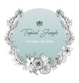 flower wreath with line art tropical romantic vector image vector image