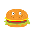 Funny cartoon hamburger icon with happy face vector image