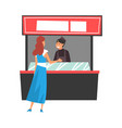 girl ordering and buying fast food and drinks in vector image