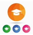 Graduation cap sign icon Education symbol vector image vector image