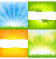 Green And Orange Backgrounds With Sunburst vector image vector image