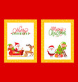 greeting cards with holiday spirit and cartoon vector image vector image