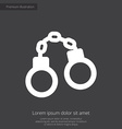handcuffs premium icon white on dark background vector image