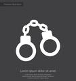 handcuffs premium icon white on dark background vector image vector image
