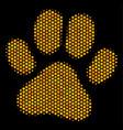 hexagon halftone paw footprint icon vector image vector image