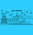 italy syracuse winter holidays skyline merry vector image vector image
