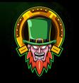 leprechaun head esport mascot logo vector image