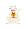 lovely white cat sitting with gift box cute vector image