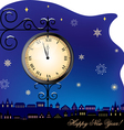 New year clock and town vector image