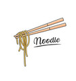 noodle and chopstick isolated on white vector image