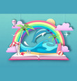 Open fairy tale book with dolphin and tropic