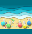 paper sea beach summer holiday landscape with vector image